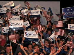 Romney supporters packed the Moore Building at the State Fairgrounds