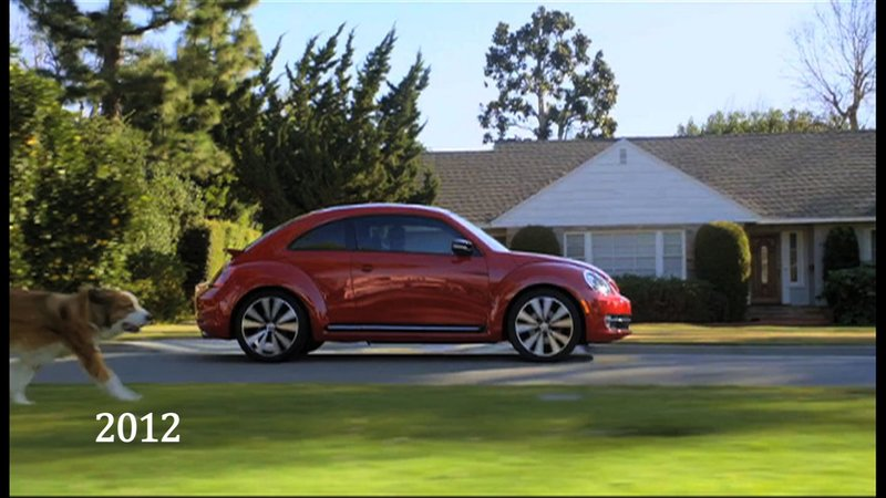 In Volkswagen's 2012 Super Bowl ad, a furry friend runs alongside the new beetle.