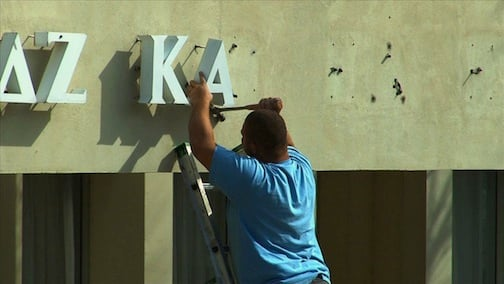 Sorority letters were removed from South Tower in preparation for males to move in.