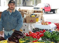 Eloy Montiel drives 70 miles from Lodge to sell his produce at the Farmers Market. He says some days he doesn't make any money because the price of gas is so high.
