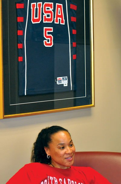 In 2012, Staleys office is adorned with different jerseys from her playing days including her Team USA jersey.