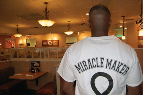 "Servers at the Columbia IHOP locations wore ""Miracle Makers"" jerseys for National Pancake Day Tuesday."