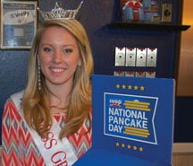 Miss Greater Irmo Janie Davis, a sophomore at Presbyterian College, worked at St. Andrews Road IHOP Tuesday.