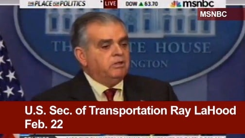 """U.S. Sec. of Transportation Ray LaHood warns """"everything will be impacted"""" in a press conference on Feb. 22."""