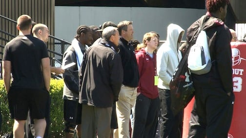 Marcus Lattimore, left, ran for scouts at Pro Day. He was unable to run in the NFL Combine.
