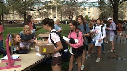 Students who are members of Greek organizations weaved a long line to sign in for the beginning of Greek Week Monday afternoon.