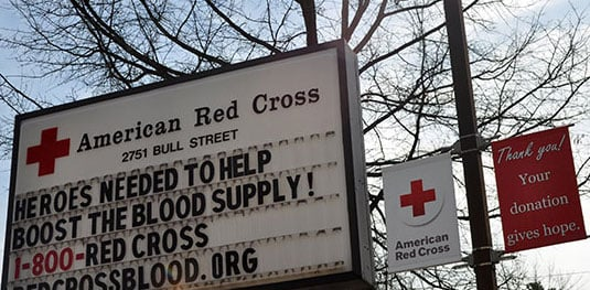A sign outside the Columbia American Red Cross on Bull Street urges people to donate blood. The Red Cross is in special need of donations after winter storms across the state caused a shortfall in blood supply.  Photo by Sarah Ellis
