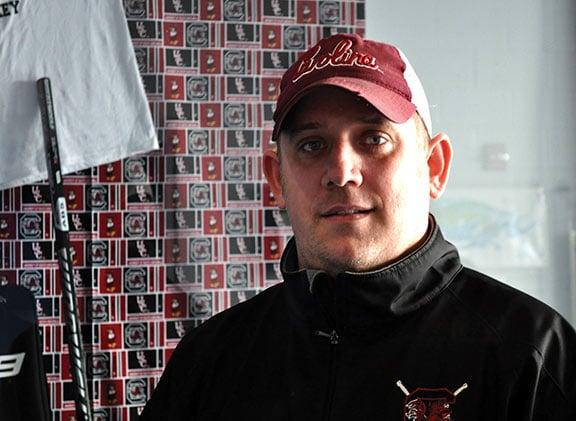 USC club ice hockey coach Brian Bauman is in his fourth season coaching the team. Photo by Sarah Ellis