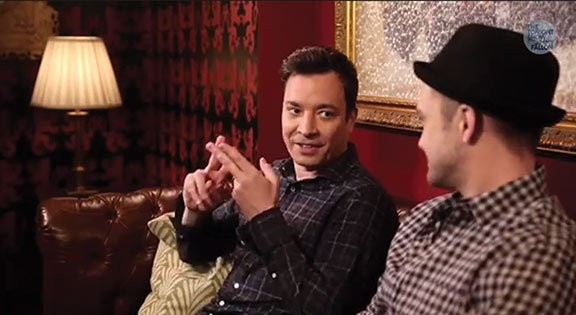 "Fallon developed a reputation for his quirky comedy sketches featuring celebrities, like this ""#Hashtag"" skit with Justin Timberlake that aired last September. Photo courtesy of The Tonight Show Starring Jimmy Fallon on YouTube."