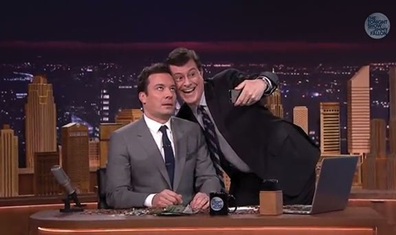 "Jimmy Fallon's first night hosting ""The Tonight Show"" on Monday featured a slew of celebrity drop-ins, including comedian Stephen Colbert, who took a selfie with Fallon. Photo courtesy of The Tonight Show Starring Jimmy Fallon on YouTube."