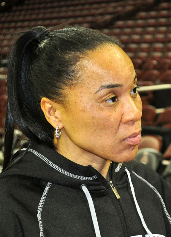 Coach Dawn Staley hopes to see 13,000 fans fill the stands at Thursday's game against Georgia. Photo by Kyle Heck.