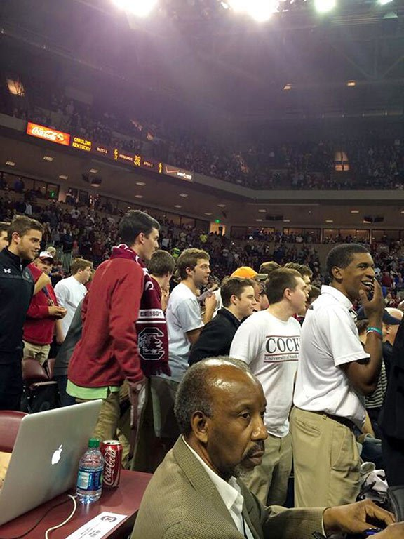 Near the end of the Gamecocks' winning basketball game against  Kentucky, students ignored an announcement reminding the crowd that they were not to storm the court after the game. Photo courtesy of Danny Garrison, The Daily Gamecock.