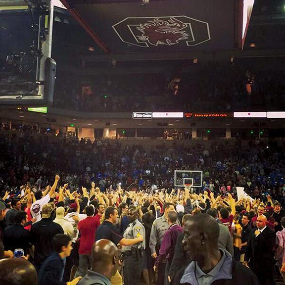 After the Gamecocks defeated then-No. 17 Kentucky, fans of the nearly sold-out game rushed the court, resulting in a $25,000 fine for USC. Photo courtesy of Danny Garrison, The Daily Gamecock