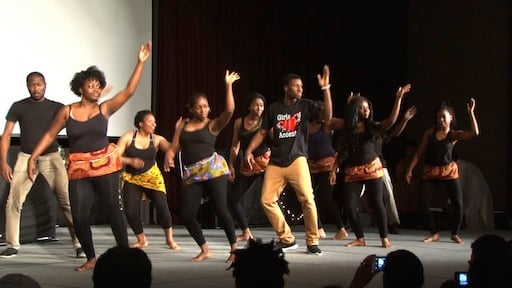 African students join together for an upbeat dance
