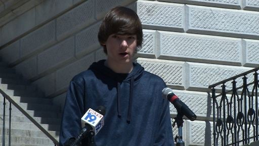 Student Thomas Kish says he attends classes in a pod of portables.