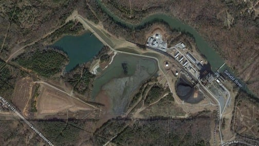 Ponds collecting coal ash from the Lee Steam Station connected to the Saluda River.