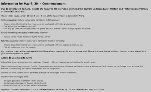USC's commencement web site updated commencement regulations upon concern from students and parents