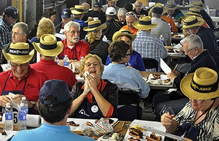 More than 30 judges evaluated pork butts and ribs cooked by teams at the Bands, Brews & BBQ competition in Port Royal, S.C., on Feb. 22 in the South Carolina Barbeque Association's first competition of the year.