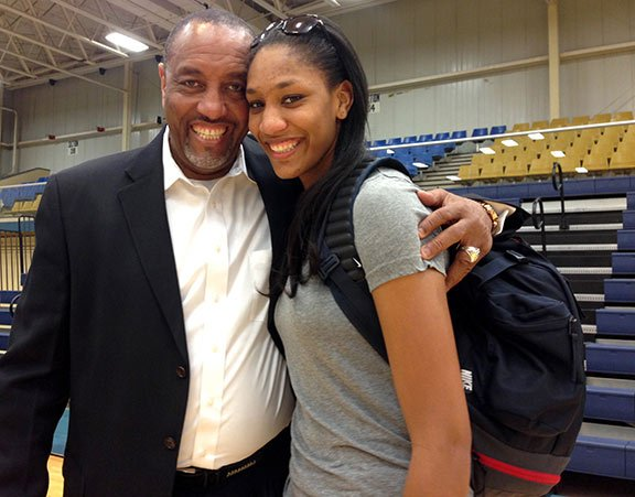A'ja Wilson learned how to play basketball from her dad, Roscoe Wilson. Photo by Isabelle Khurshudyan.