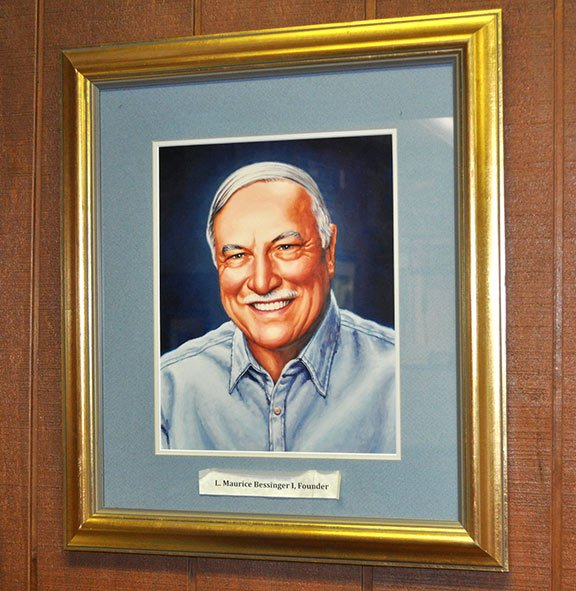 A sketch of Maurice Bessinger hangs inside Maurice's Gourmet Barbecue headquarters in Cayce. Bessinger, who owned and founded 13 Maurice's restaurants, died Feb. 22. Photo by Kyle Heck.