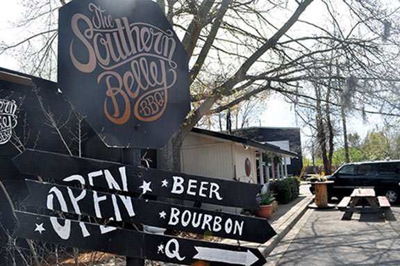Sandwiches at The Southern Belly go against the traditional grain of barbecue and, owner Jimmy Phillips says, appeal to a young, hip crowd.