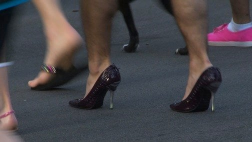 Men filled the streets of Columbia in high heels