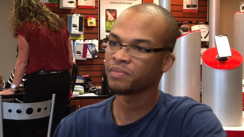 Will Simmons was the first person in lne for the i-phone 6 at a Verizon store in Columbia.