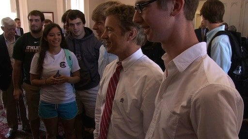 Students took pictures with Sen. Paul after he spoke with them.