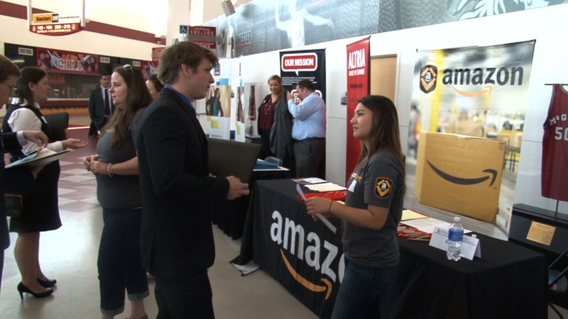 Amazon was one of the many companies at the career fair.