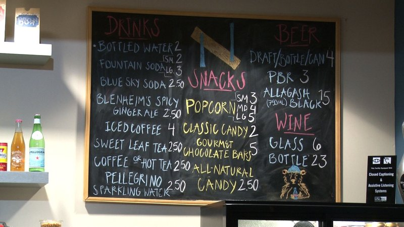 The concession stands offers an assortment of snacks as well as draft beer and wine.