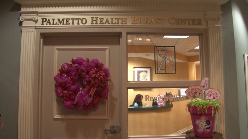 Palmetto Health Breast Center is decorated for Breast Cancer Awareness Month.