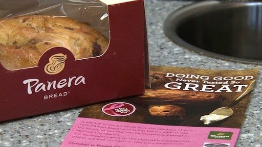 Panera Bread's pink ribbon bagels are sold to help support Becky's Place Boutique