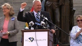 Jeff Ayers demands marriage equality in South Carolina on the State House steps