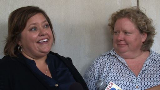 Nichols Bleckley (left) and Colleen Condon (right) applied for a marriage license in Charleston, S.C.