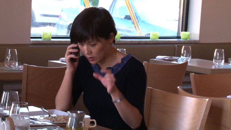 True to her character, Michelle Weng is always working.  Even during her down time.