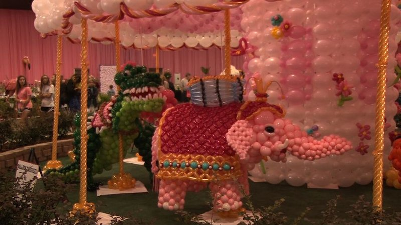 The staff spends plenty of time making these creations for them to be taken down in a matter of days. This pink elephant took over 25 hours to make.