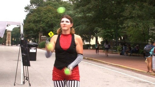 A juggler entertained the crowd to keep with the overall Homecoming Under the Big Top theme