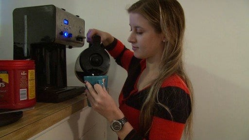 Katie Atkinson says she drinks three cups of coffee a day to keep her awake.