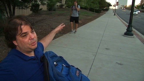 Jay Michaels is a USC graduate student. He pushes up two steep hills everyday to get to class.