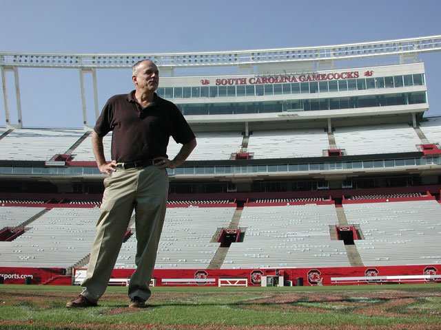 "John Nelson revisits USC's Williams-Brice Stadium where he danced and cheered as ""The Rooster"" during the 1972 football season.   Kimberly Hunt / The Carolina Reporter"