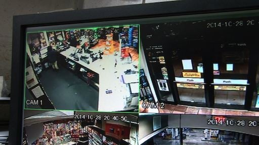 Surveillance video shows the robbery at the Corner Pantry.