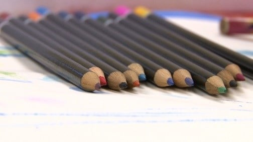 The art classes uses pastel paints and various types of pencils and oil crayons.