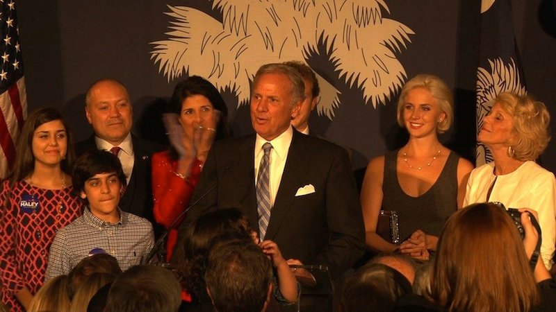 The newly electected lieutenant governor, Henry McMaster, made a speech thanking his work buddy Governor Haley.