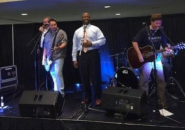 Senator celebrated his win by getting on the stage and singing with the live band.