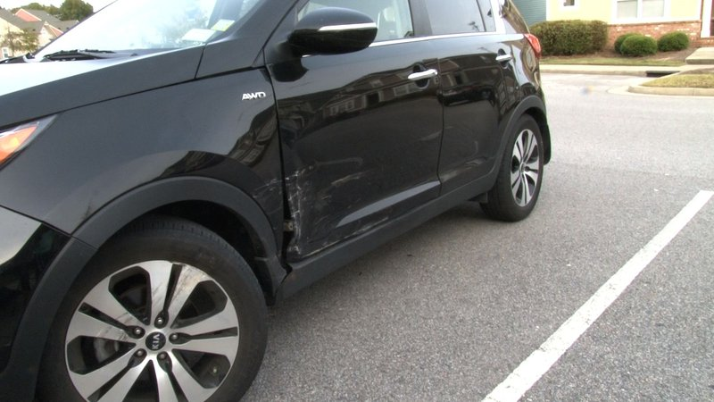 Morgan Rogers car was damaged when she struck a guardrail after falling asleep while driving.