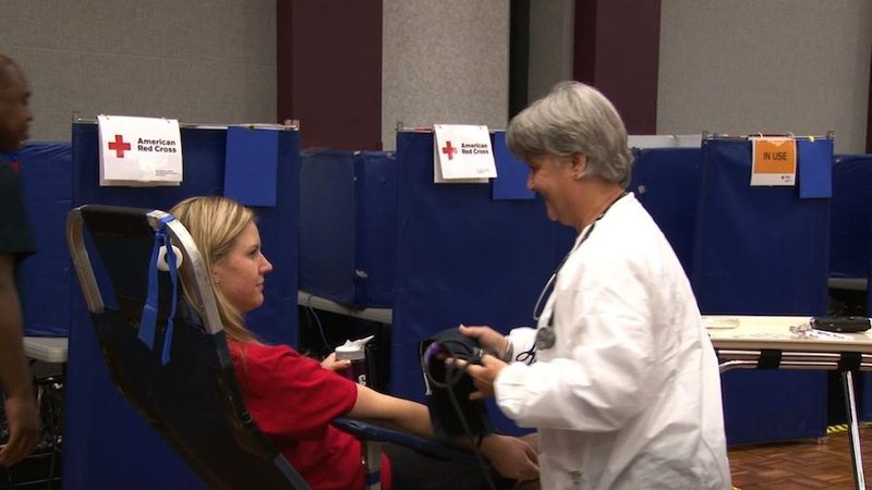 Donating blood is an easy process. After signing up participants take a mini-physical before giving blood.