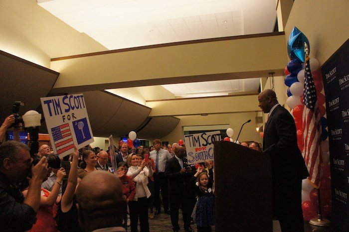 Scott gives his victory speech in Columbia, SC after being elected U.S. Senator.