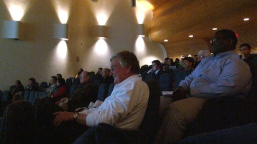 People filled Gambrell Hall to hear Connolly speak.