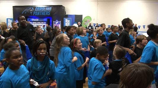 Leaphart elementary school students were surprised to see some Carolina Panthers attend the pep rally.