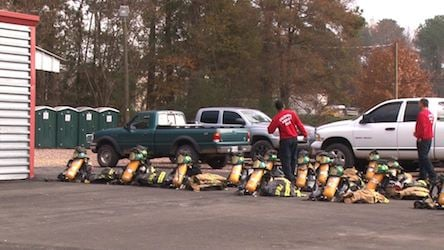 Fire career hopefuls line up their equipment before they start training.